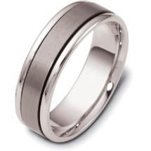 6.5mm Titanium & White Gold Flat Style Wedding Band Ring