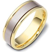 6.5mm Titanium & Yellow Gold Flat Style Wedding Band Ring