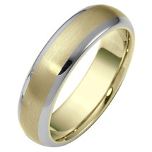 Classic 6mm Two-Tone Gold Comfort Fit Wedding Band Ring