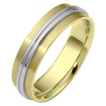 Designer 6mm Two-Tone Gold Comfort Fit Wedding Band