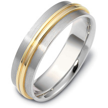 6mm Yellow Gold & Titanium Wedding Band Ring
