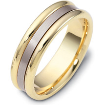 6.5mm Yellow Gold & Titanium Wedding Band Ring