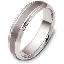 6mm Wide Stylish Titanium & White Gold Comfort Fit Wedding Band Ring