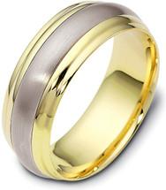 7.5mm Classic Yellow Gold & Titanium Wedding Band Ring