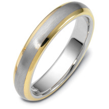 4.5mm Classic Yellow Gold & Titanium Wedding Band Ring