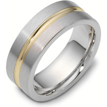 8mm Titanium & Yellow Gold Classic Wedding Band Ring