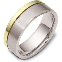7.5mm Titanium & Yellow Gold Classic Wedding Band Ring