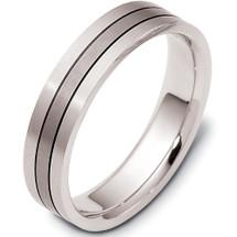 Designer  5mm Titanium & White Gold Comfort Fit Wedding Band Ring