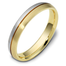 4mm Titanium & Yellow Gold Classic Wedding Band Ring