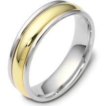 Titanium & Yellow Gold 6mm Traditional Wedding Band Ring