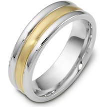 Titanium & Yellow Gold 7mm Plain Wedding Band Ring