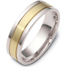 Titanium & Yellow Gold 6mm Flat Style Wedding Band Ring