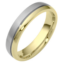 5mm Comfort Fit Two-Tone Gold Wedding Band Ring