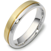 Titanium & Yellow Gold 5mm Plain Wedding Band Ring