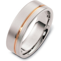Stylish 7mm Titanium and Yellow Gold Wedding Band Ring