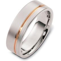 Stylish 7mm Titanium and Yellow Gold Wedding Band Ring