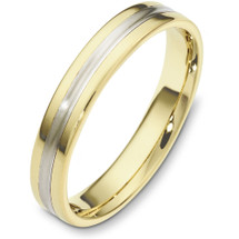 Traditional Style 4mm Yellow Gold & Titanium Wedding Band Ring