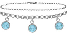 Sterling Silver CHOOSE YOUR STONE Cable 3 Round Charm Anklet