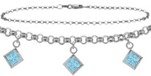 10 Karat White Gold CHOOSE YOUR STONE Cable 3 Square Charm Anklet