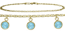 10 Karat Yellow Gold CHOOSE YOUR STONE 3 Round Charm Flat Gucci Anklet