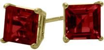 1.50Ct. Created 5mm Square Princess Cut Ruby 14 Karat Yellow Gold Stud Earrings