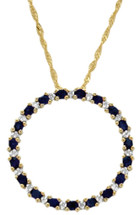 10 Karat Yellow Gold Diamond & Sapphire Circle Of Life Pendant
