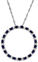 10 Karat White Gold Diamond & Sapphire Circle Of Life Pendant