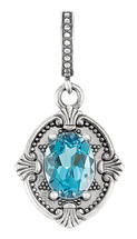 Sterling Silver Genuine Blue Topaz Victorian Style Pendant