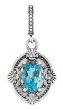 Sterling Silver Genuine Blue Topaz Victorian Style Pendant