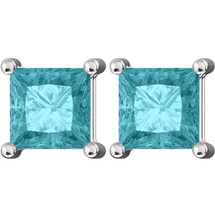 Sterling Silver CHOOSE YOUR GEMSTONE 5mm Princess Cut Square Earrings
