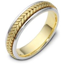 5mm 14 Karat Yellow & Titanium Gold Wedding Band Ring