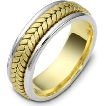 7mm 14 Karat Yellow Gold & Titanium Wedding Band Ring