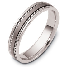 5mm Rope Style Titanium & 14 Karat White Gold Wedding Band Ring