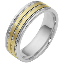7mm Woven Two-Tone 14 Karat Gold Comfort Fit Wedding Band Ring