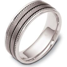 Designer 7mm Rope Style Titanium & 14 Karat White Gold Wedding Band