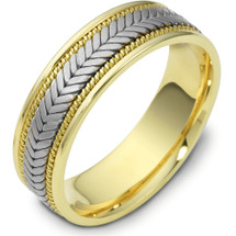 6.5mm Titanium & 14 Karat Yellow Gold Woven Wedding Band