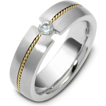 6mm Titanium & 14 Karat Yellow Gold Diamond Rope Style Wedding Band