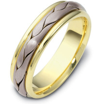 6mm Titanium & 14 Karat Yellow Gold Woven Wedding Band