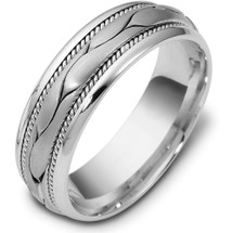 7.5mm Wide Woven Style 14 Karat White Gold Comfort Fit Wedding Band