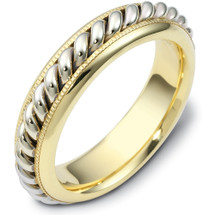 6mm Multi-Texture 14 Karat Yellow Gold & Titanium Wedding Band