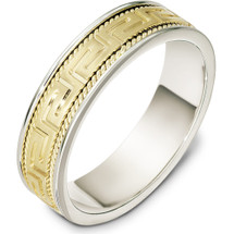 6mm Greek Key 14 Karat Yellow Gold & Titanium Comfort Fit Wedding Band