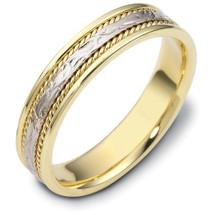 14 Karat 5mm Titanium & Yellow Gold Wedding Band Ring