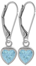 14 Karat White Gold CHOOSE YOUR STONE Heart Leverback Gemstone Earrings