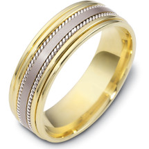 Stylish Rope Style 14 Karat Yellow Gold & Titanium 7mm Wedding Band