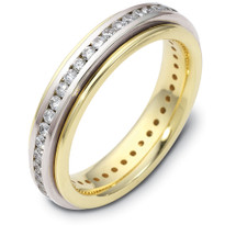4.5mm Titanium & 14 Karat Yellow Gold 38 Diamond SPINNING Wedding Band
