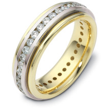 6mm Titanium & 14 Karat Yellow Gold 32 Diamond SPINNING Wedding Band