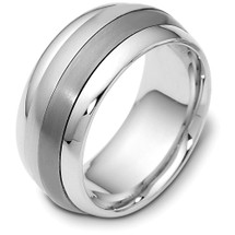 Titanium & 14 Karat White Gold Designer SPINNING Wedding Band