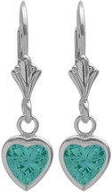 Genuine Sterling Silver CHOOSE YOUR STONE Heart Leverback Gemstone Earrings