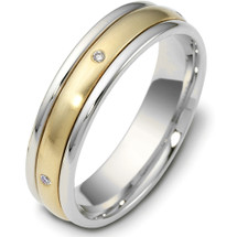 Titanium & 14 Karat Yellow Gold 5mm SPINNING Diamond Wedding Band