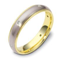 Titanium & 14 Karat Yellow Gold 4.5mm SPINNING Diamond Wedding Band